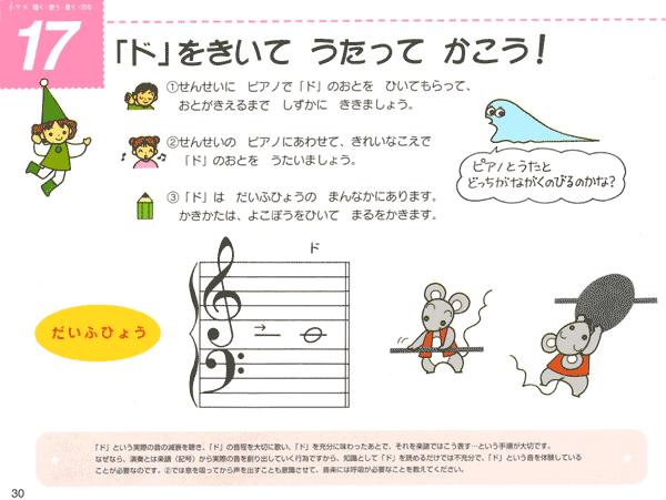 『プレ・ピアノランド』1巻 メニュー17 「ド」をきいて うたって かこう!