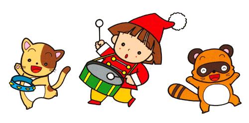 太鼓の子どもと2匹